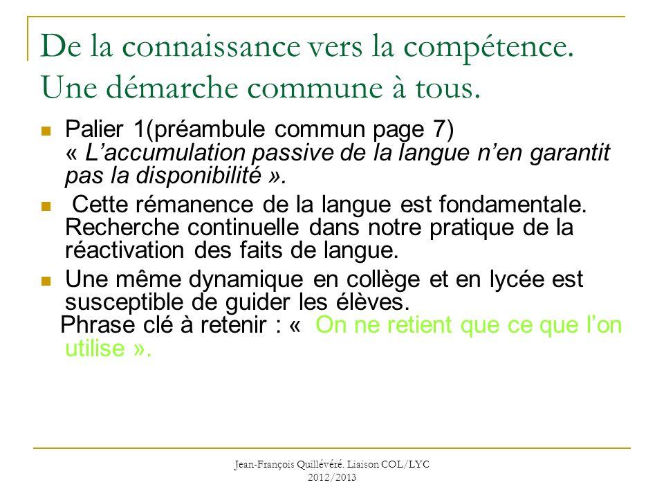 De la connaissance vers la compétence. Une démarche commune à tous.