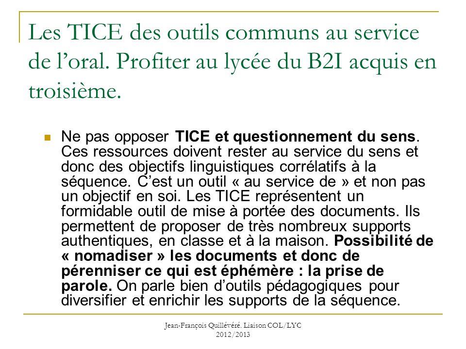 Jean-François Quillévéré. Liaison COL/LYC 2012/2013