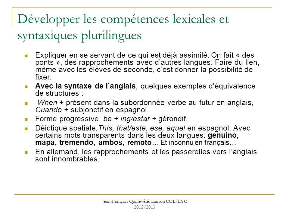 Développer les compétences lexicales et syntaxiques plurilingues