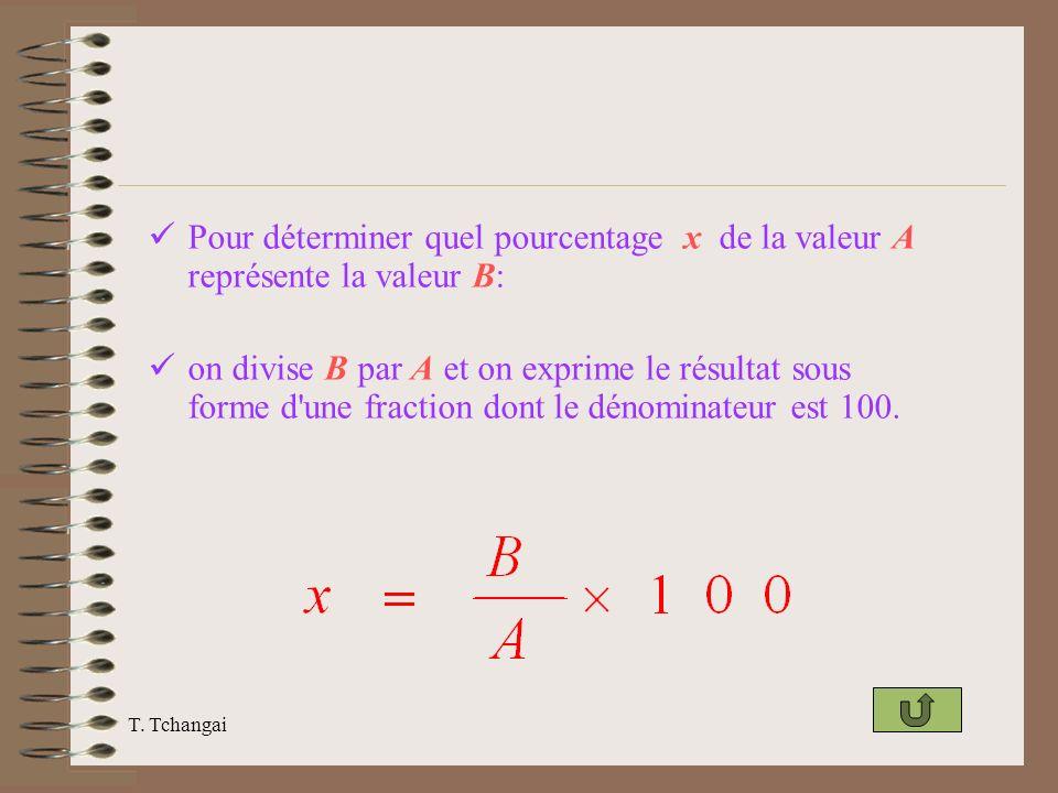 Pour déterminer quel pourcentage x de la valeur A représente la valeur B: