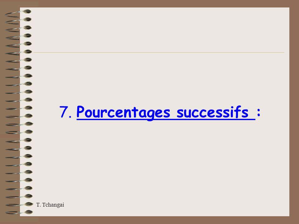 7. Pourcentages successifs :