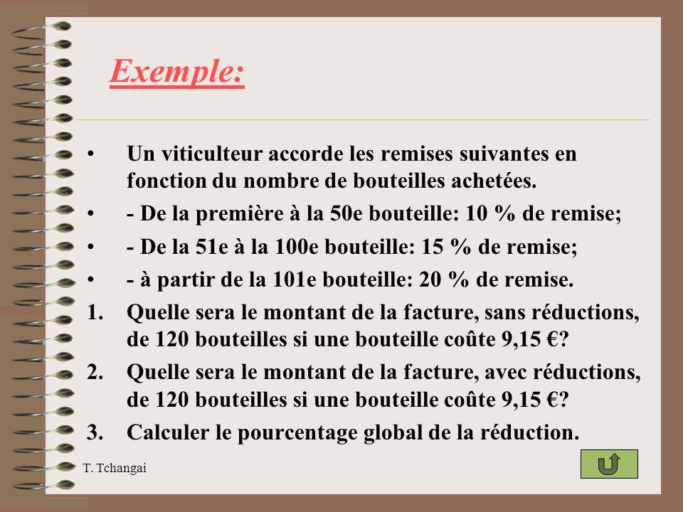 Exemple: Un viticulteur accorde les remises suivantes en fonction du nombre de bouteilles achetées.