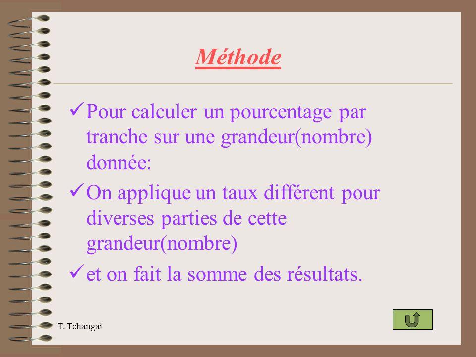 Méthode Pour calculer un pourcentage par tranche sur une grandeur(nombre) donnée:
