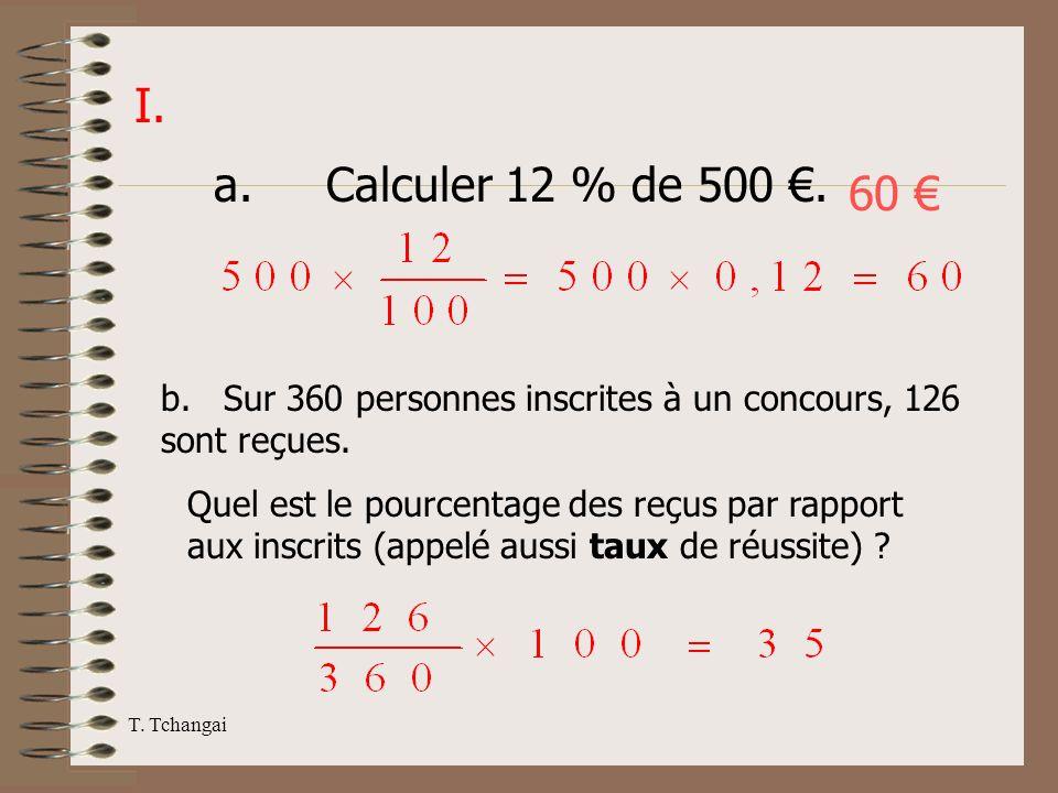 I. a. Calculer 12 % de 500 €. 60 € b. Sur 360 personnes inscrites à un concours, 126 sont reçues.