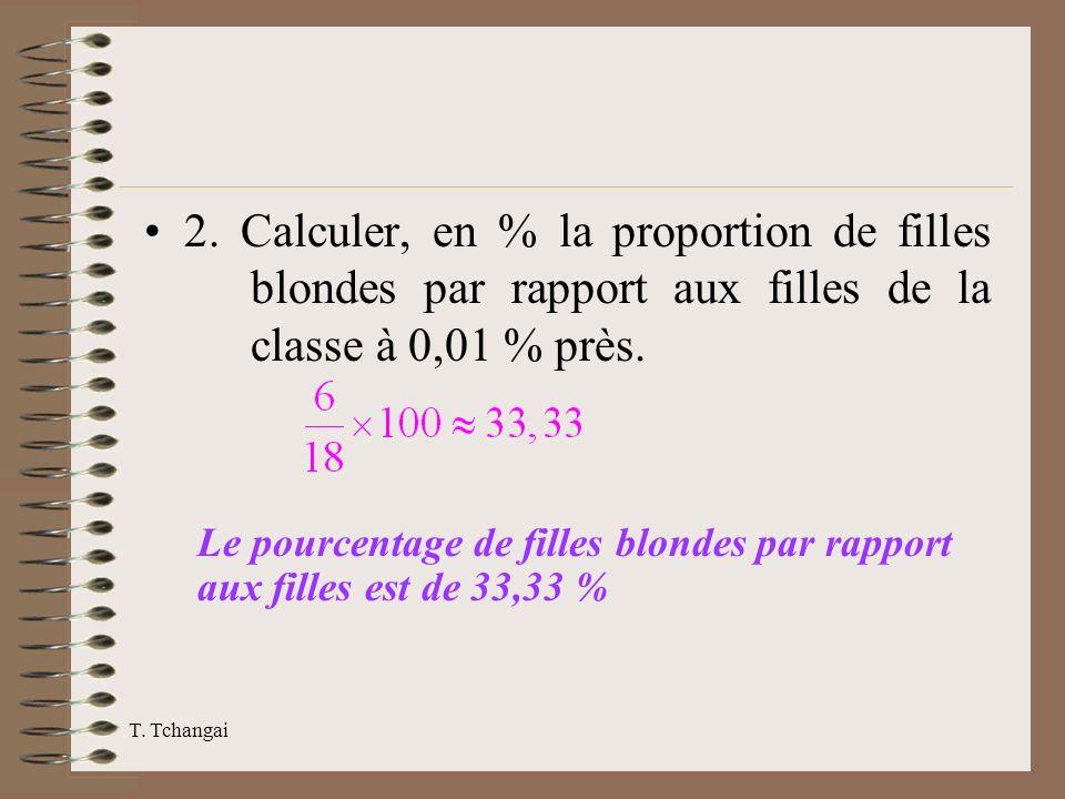 2. Calculer, en % la proportion de filles