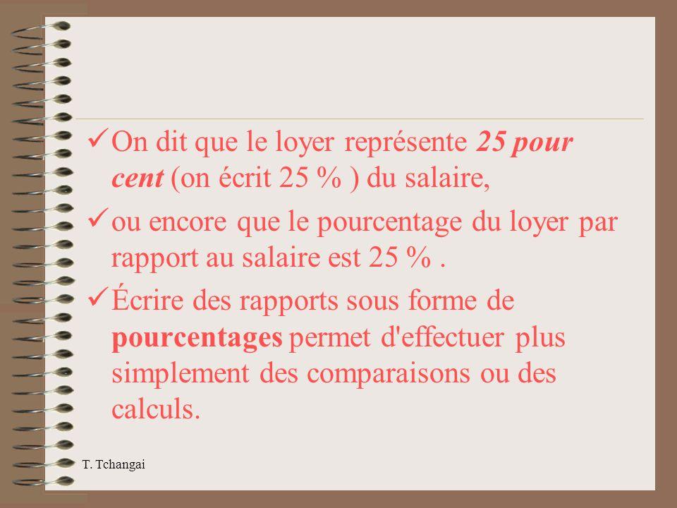 On dit que le loyer représente 25 pour cent (on écrit 25 % ) du salaire,