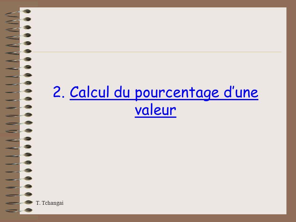 2. Calcul du pourcentage d'une valeur