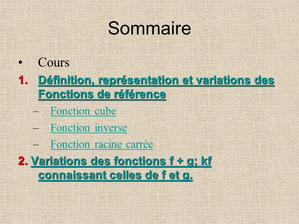 Sommaire Cours. Définition, représentation et variations des Fonctions de référence. Fonction cube.