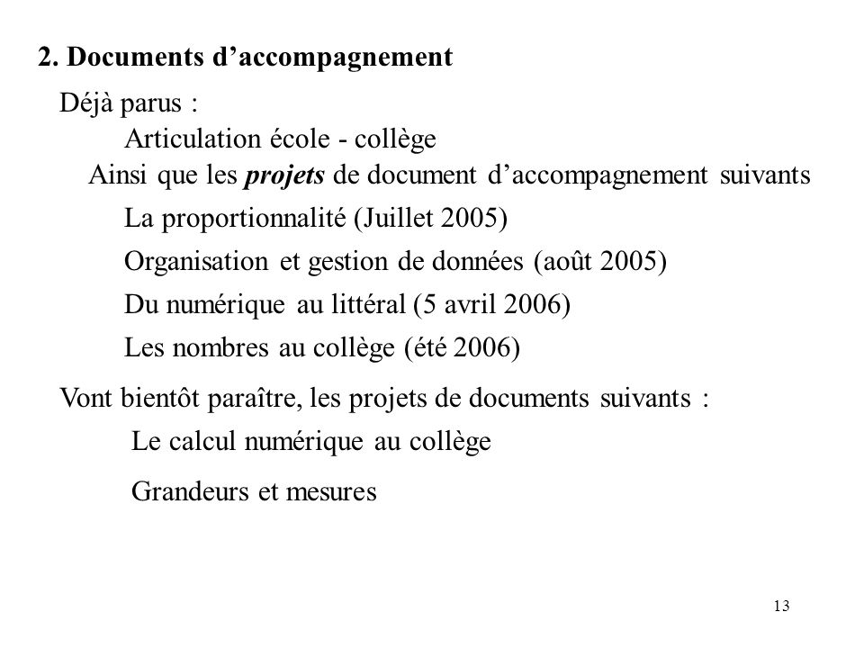 2. Documents d'accompagnement