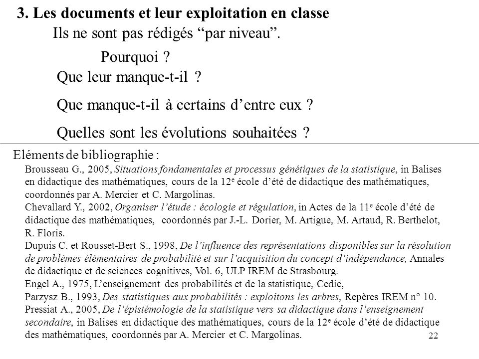 3. Les documents et leur exploitation en classe