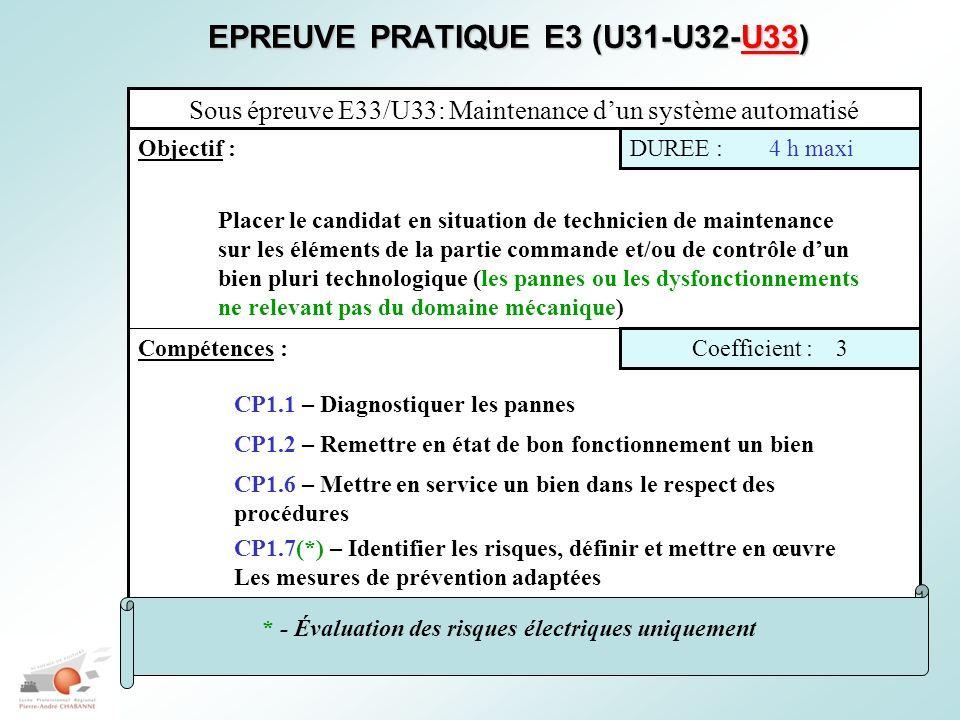 EPREUVE PRATIQUE E3 (U31-U32-U33)