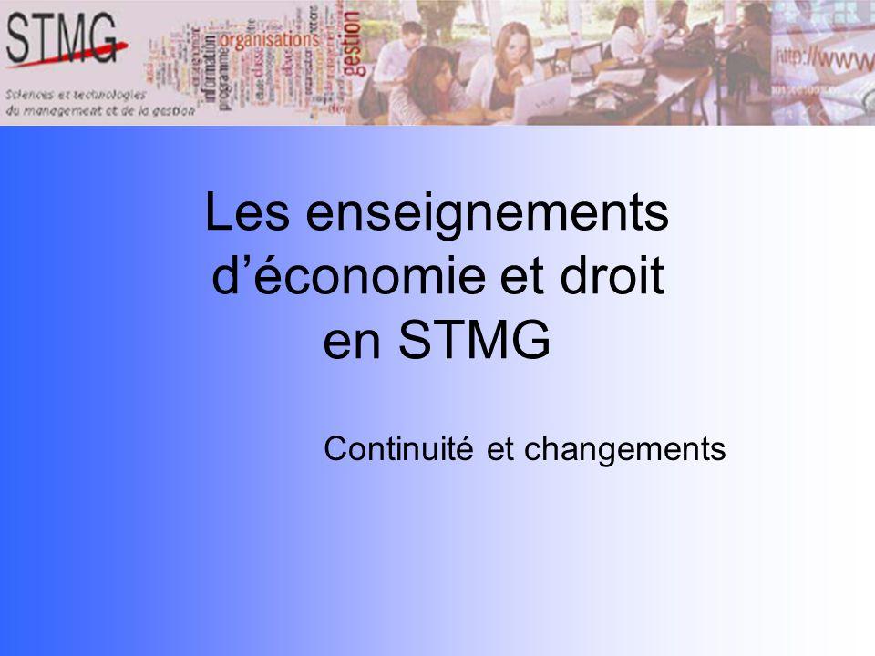 Les enseignements d'économie et droit en STMG