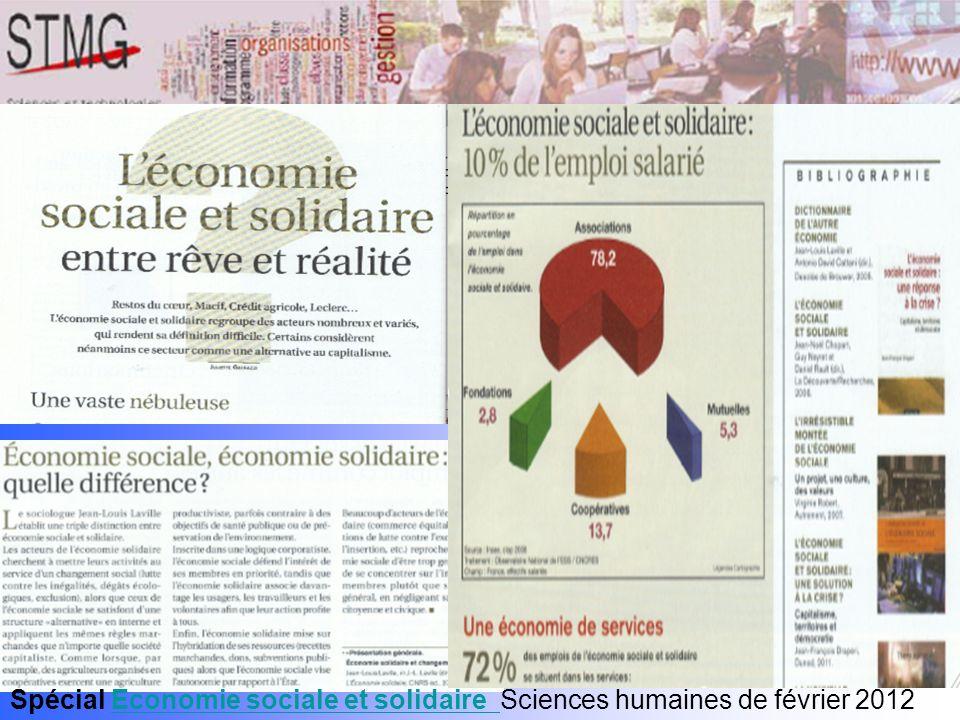Spécial Economie sociale et solidaire Sciences humaines de février 2012