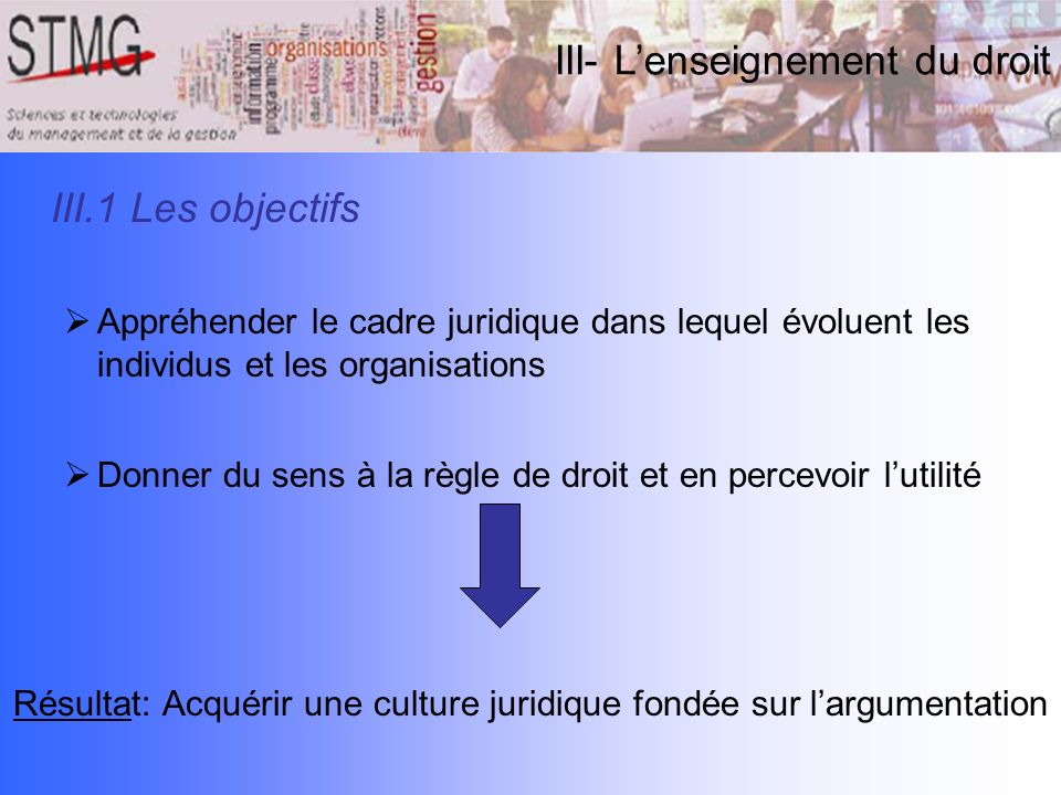 Résultat: Acquérir une culture juridique fondée sur l'argumentation