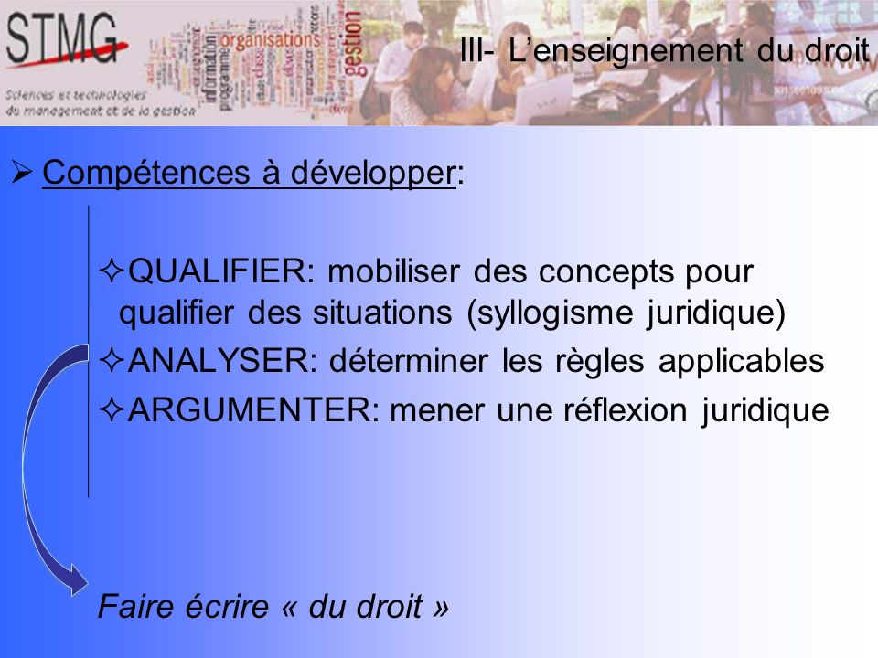 III- L'enseignement du droit
