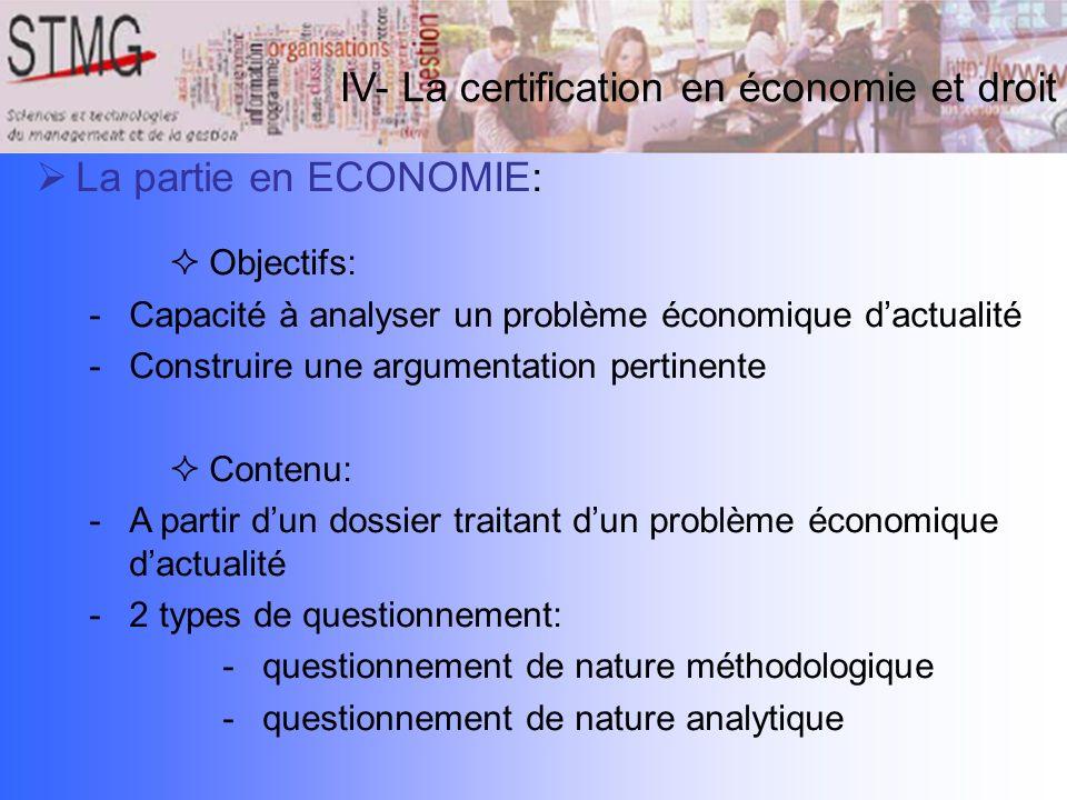 IV- La certification en économie et droit