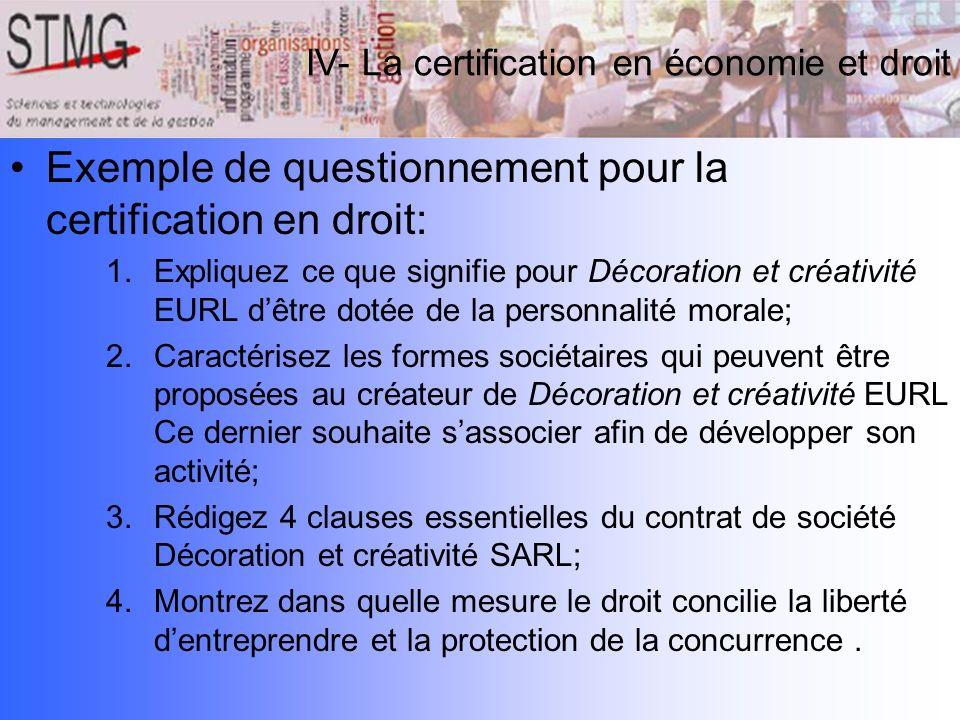 Exemple de questionnement pour la certification en droit: