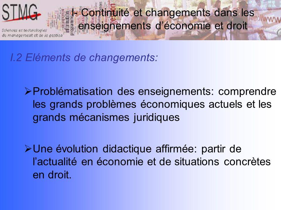 I- Continuité et changements dans les enseignements d'économie et droit