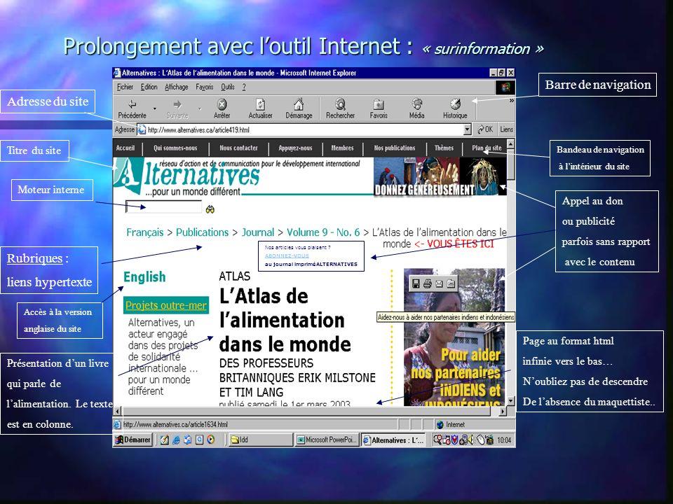 Prolongement avec l'outil Internet : « surinformation »