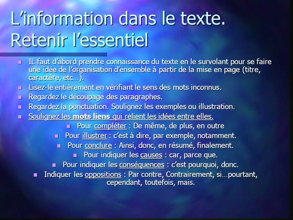 L'information dans le texte. Retenir l'essentiel