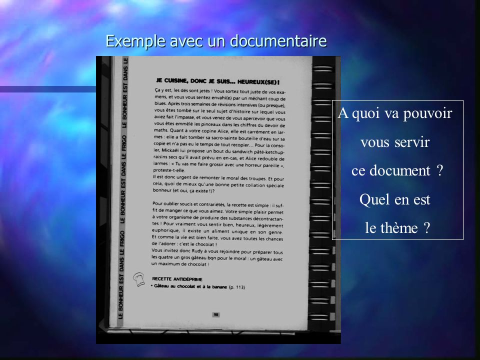 Exemple avec un documentaire