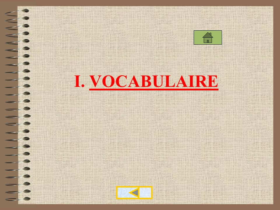 I. VOCABULAIRE