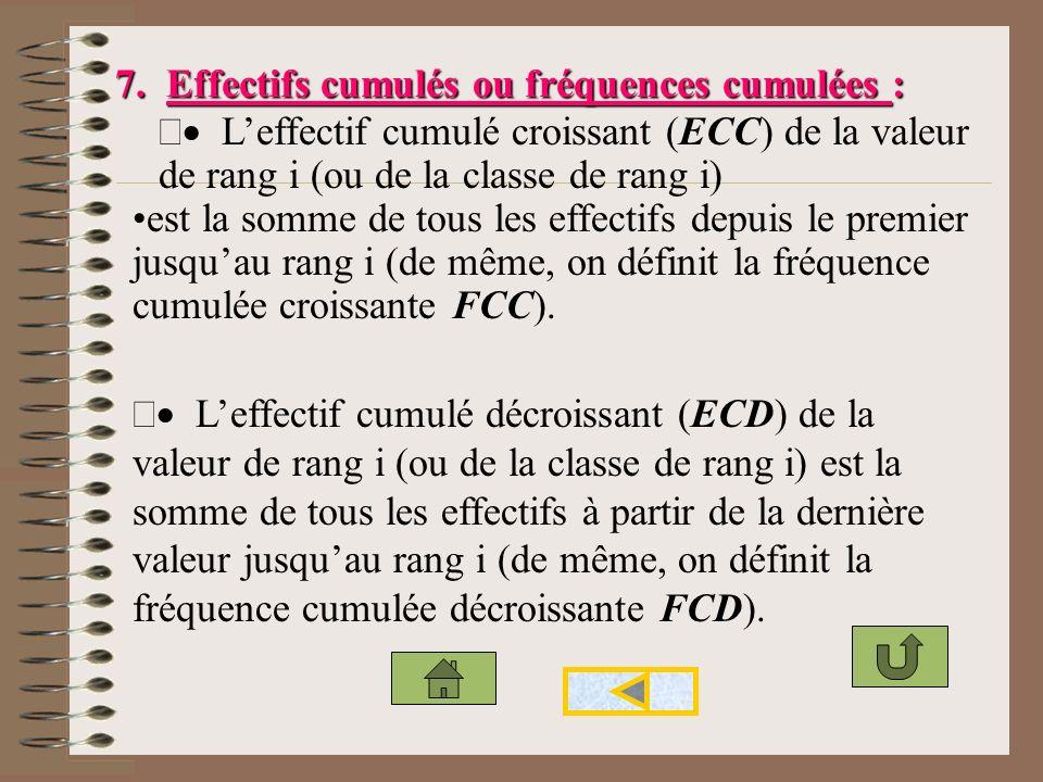 7. Effectifs cumulés ou fréquences cumulées :
