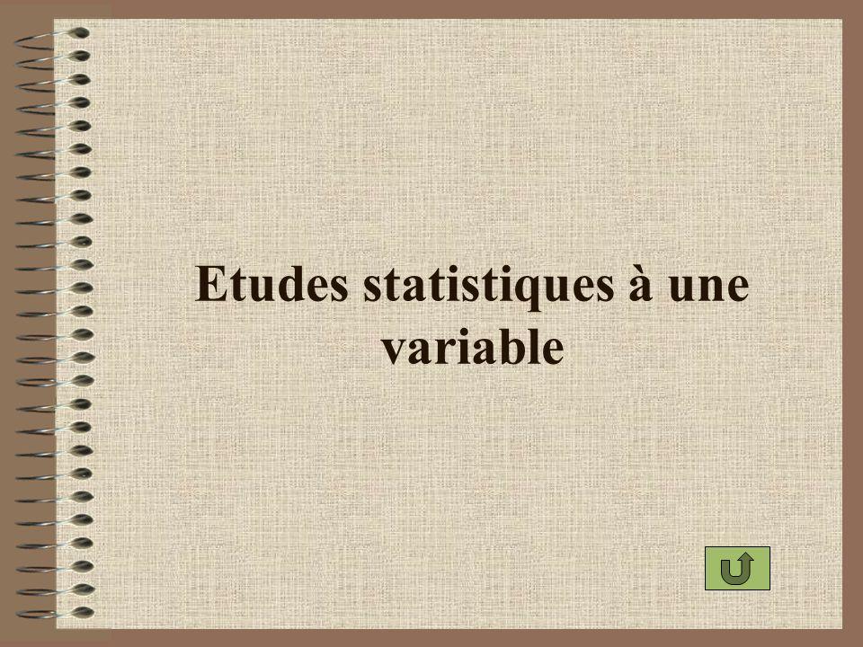 Etudes statistiques à une variable