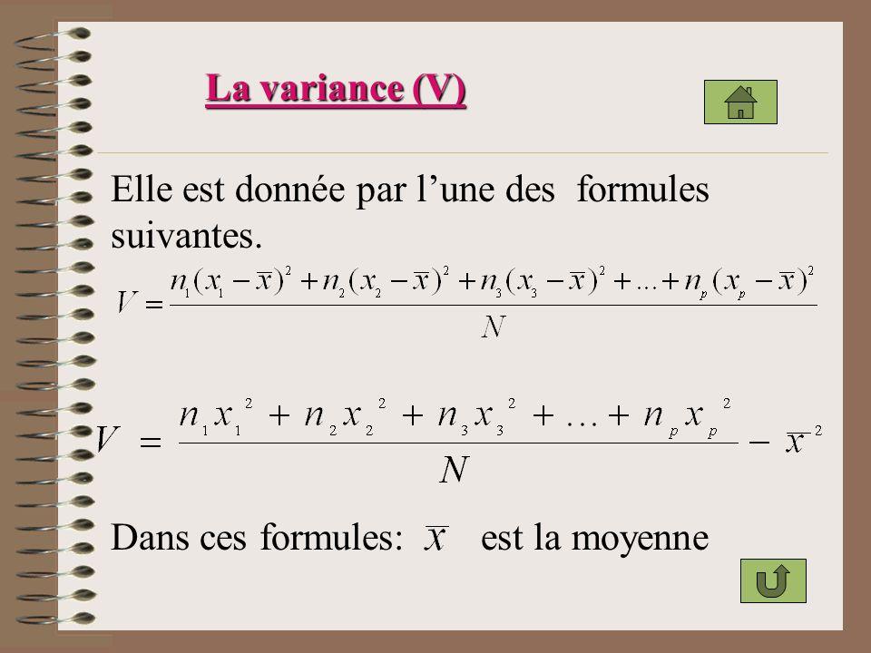 La variance (V) Elle est donnée par l'une des formules suivantes.