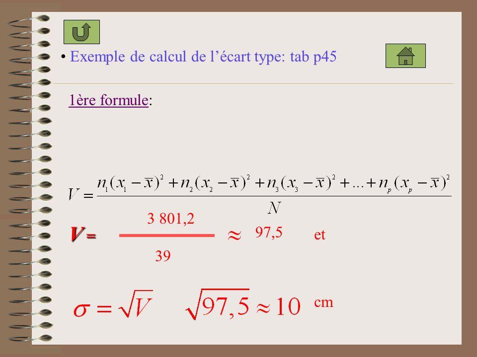 V = Exemple de calcul de l'écart type: tab p45 1ère formule: 3 801,2