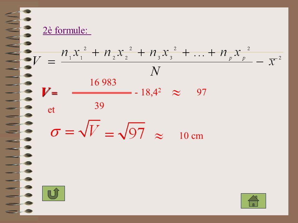 2è formule: 16 983 V = - 18,42 97 39 et 10 cm
