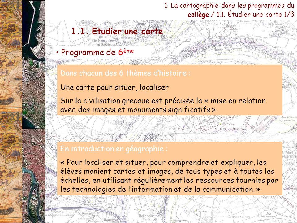 1.1. Etudier une carte Programme de 6ème
