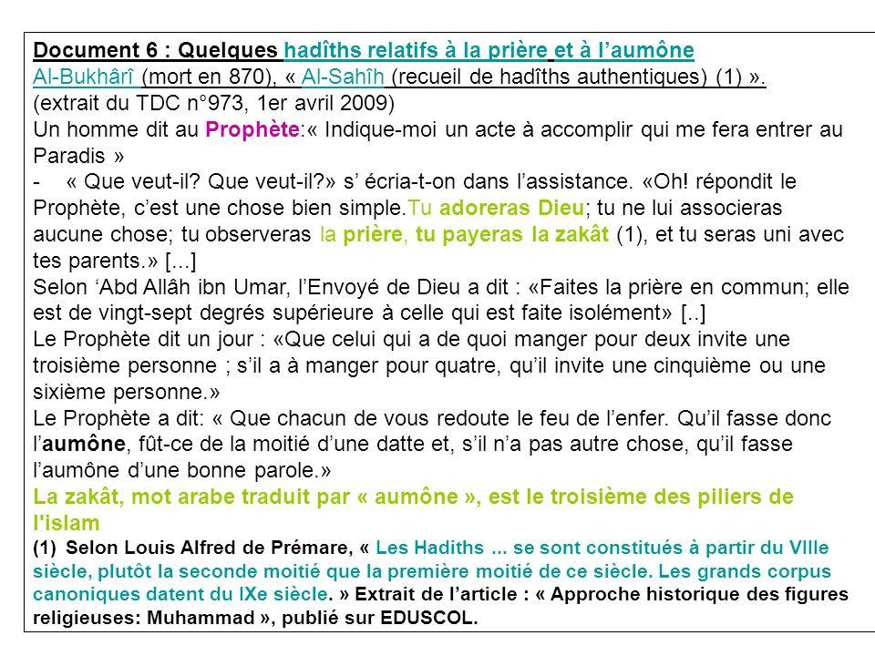Document 6 : Quelques hadîths relatifs à la prière et à l'aumône