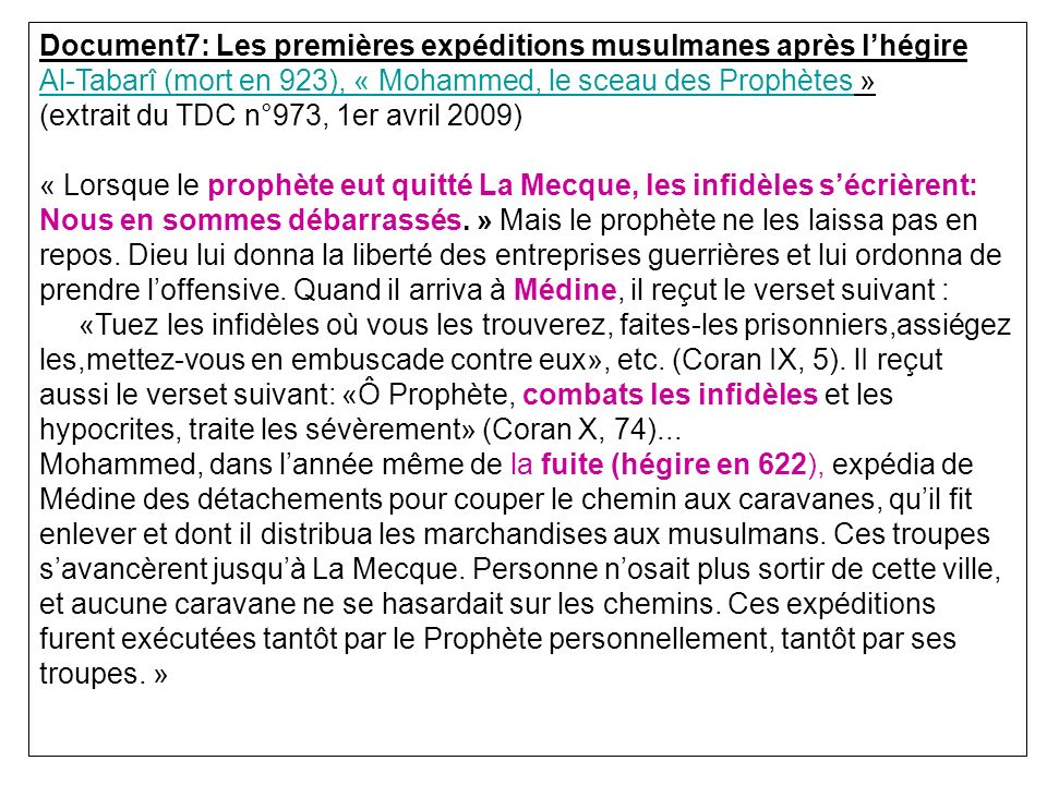 Document7: Les premières expéditions musulmanes après l'hégire