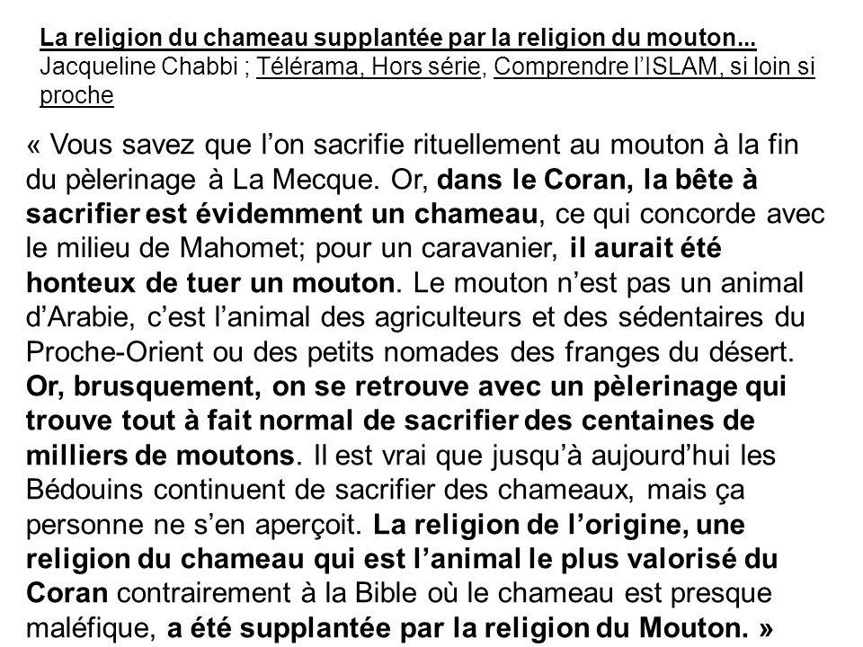 La religion du chameau supplantée par la religion du mouton