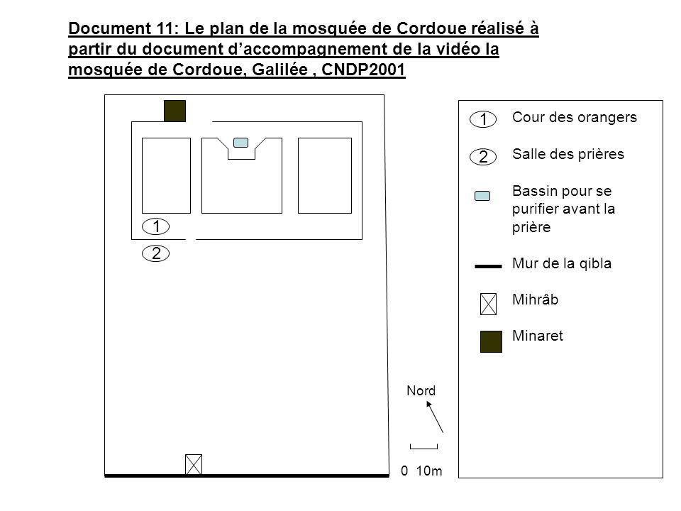 Document 11: Le plan de la mosquée de Cordoue réalisé à partir du document d'accompagnement de la vidéo la mosquée de Cordoue, Galilée , CNDP2001