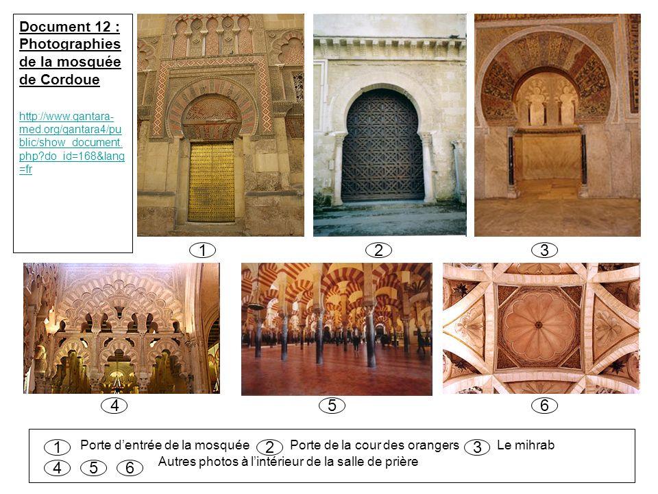 Porte d'entrée de la mosquée Porte de la cour des orangers Le mihrab