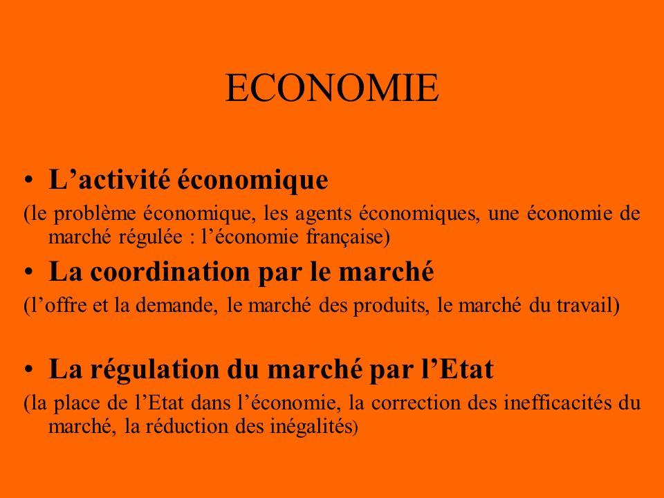 ECONOMIE L'activité économique La coordination par le marché
