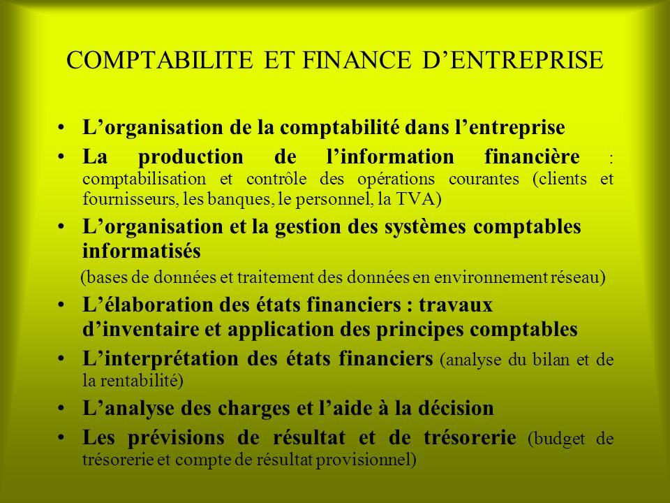 COMPTABILITE ET FINANCE D'ENTREPRISE