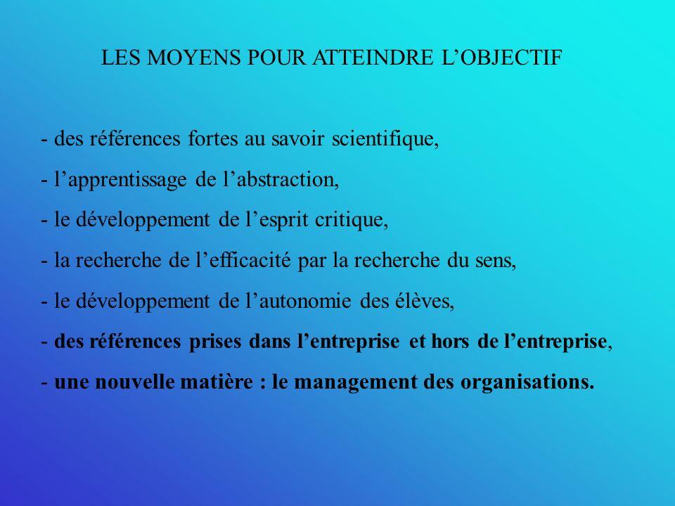 LES MOYENS POUR ATTEINDRE L'OBJECTIF