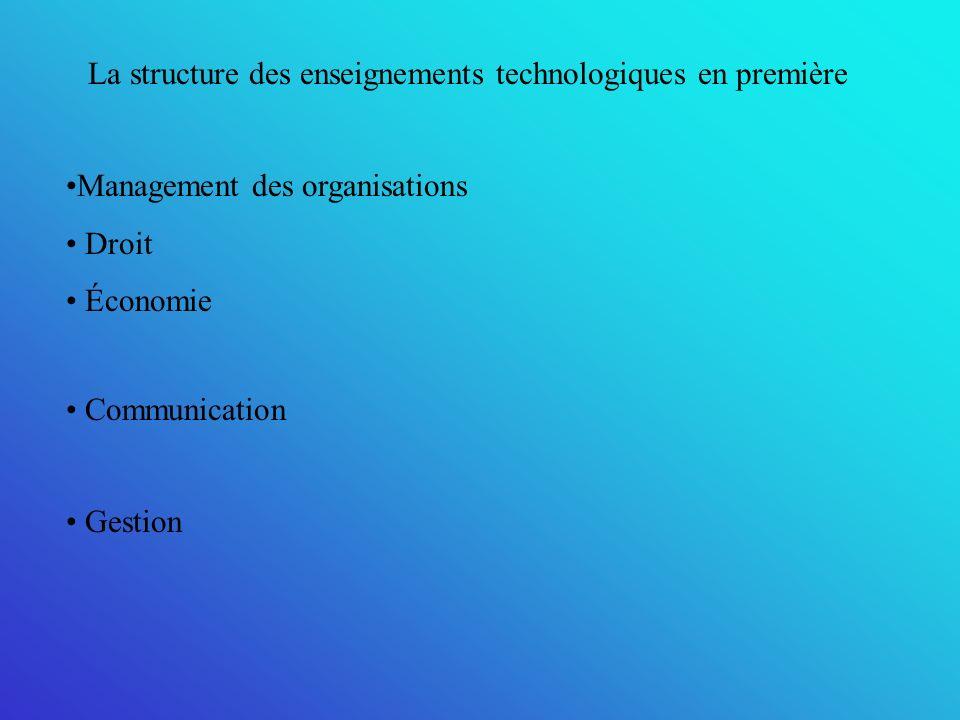 La structure des enseignements technologiques en première