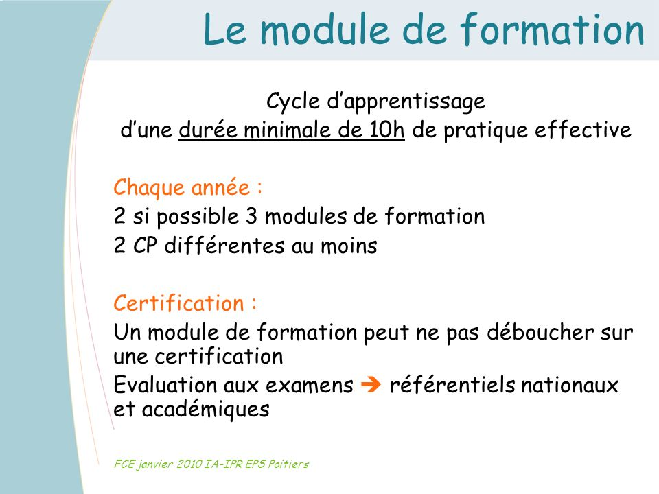 Le module de formation Cycle d'apprentissage