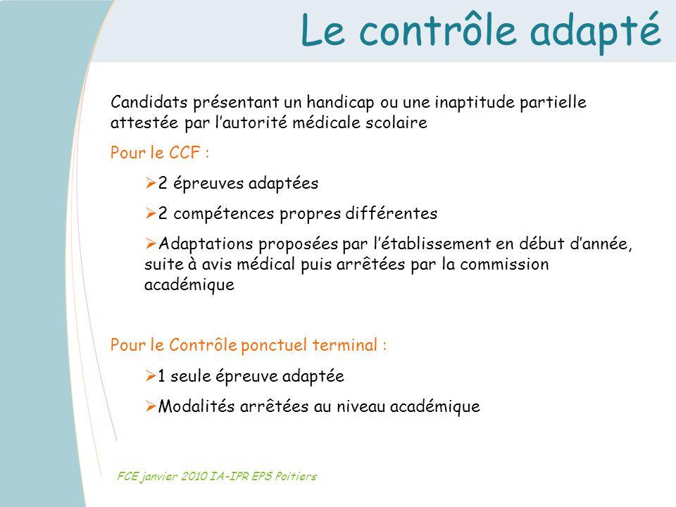 Le contrôle adapté Candidats présentant un handicap ou une inaptitude partielle attestée par l'autorité médicale scolaire.