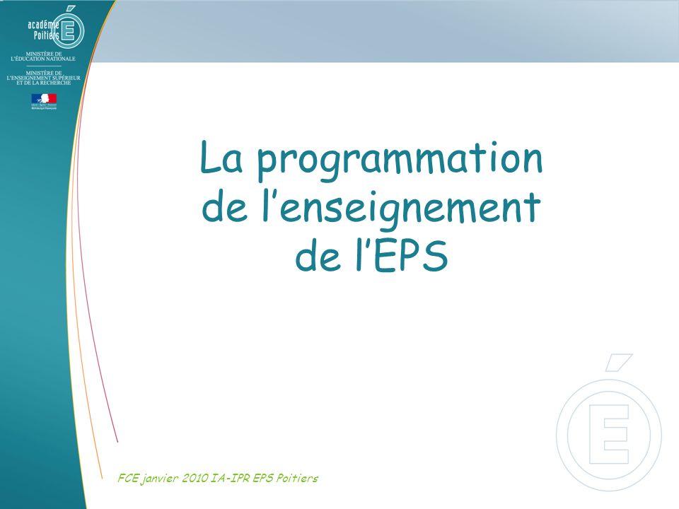 La programmation de l'enseignement de l'EPS