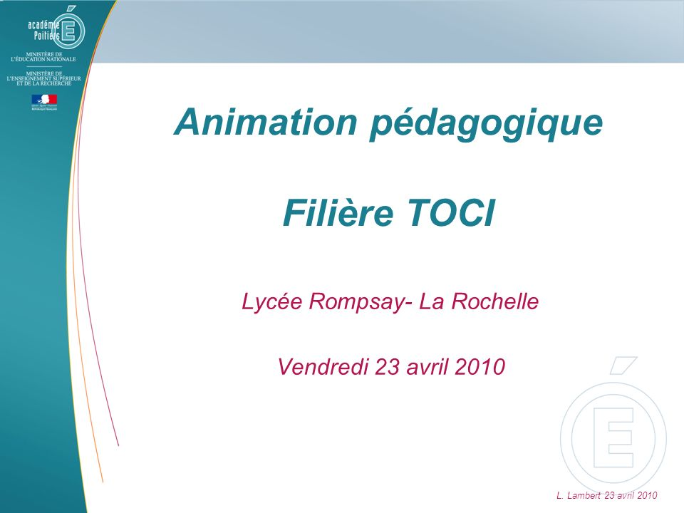 Animation pédagogique Filière TOCI