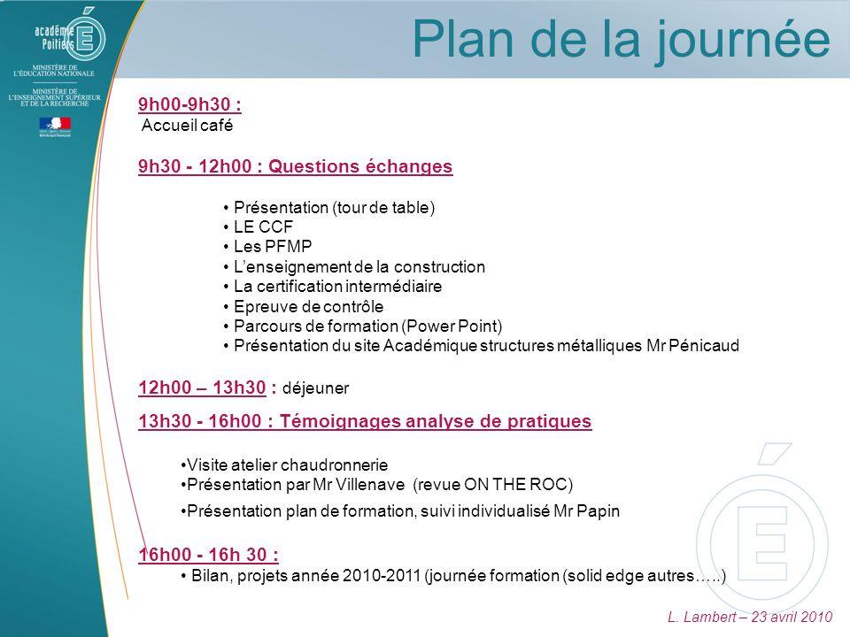 Plan de la journée 9h00-9h30 : 9h30 - 12h00 : Questions échanges