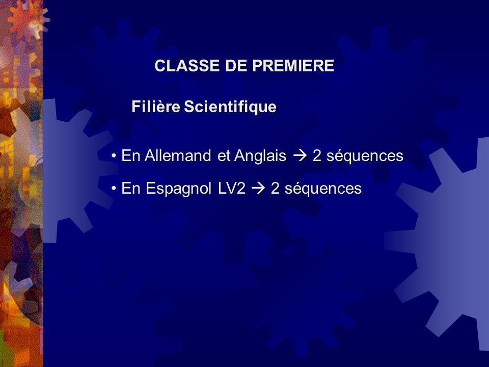 CLASSE DE PREMIERE Filière Scientifique. En Allemand et Anglais  2 séquences.