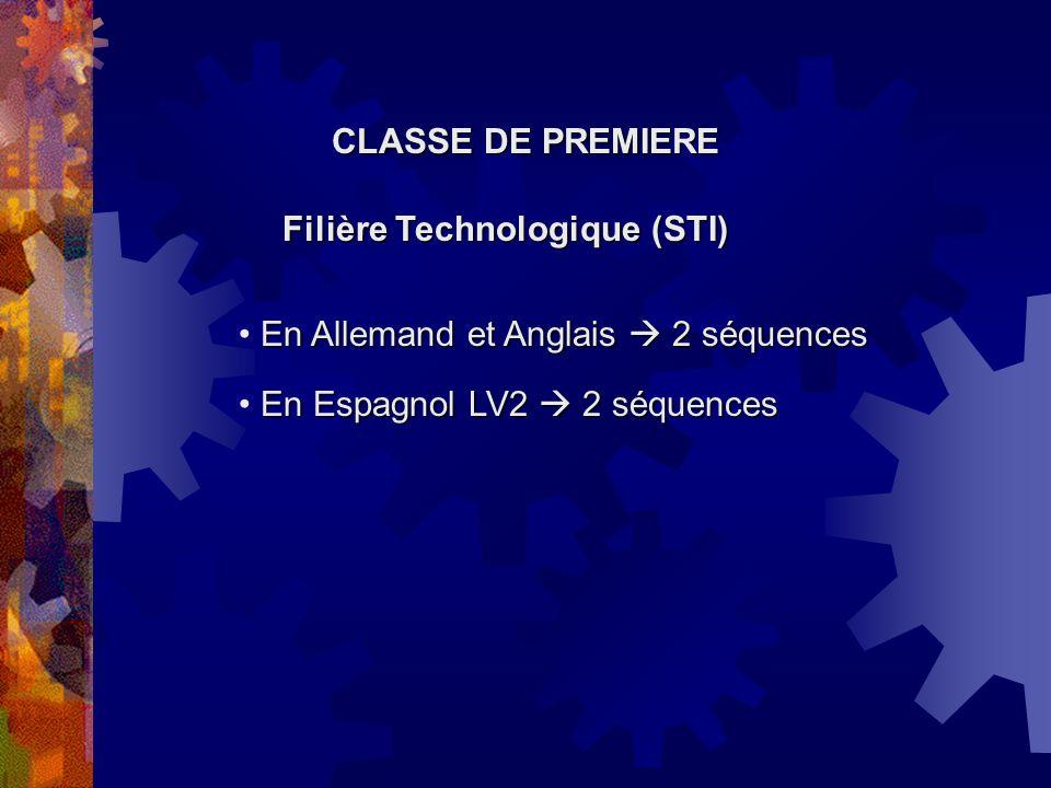 CLASSE DE PREMIERE Filière Technologique (STI) En Allemand et Anglais  2 séquences.