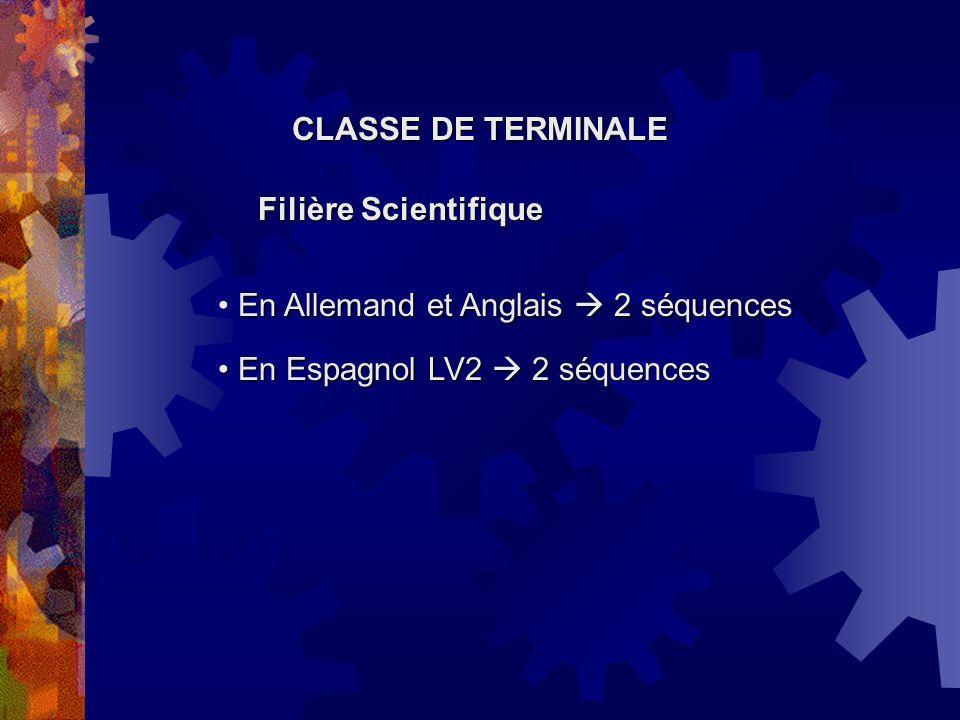 CLASSE DE TERMINALE Filière Scientifique. En Allemand et Anglais  2 séquences.