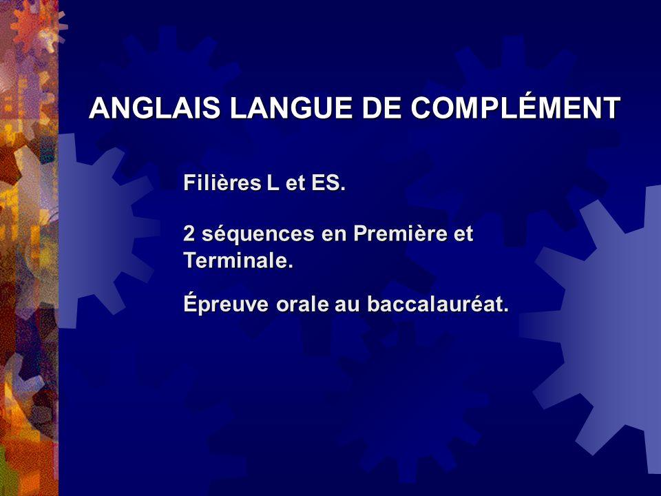 ANGLAIS LANGUE DE COMPLÉMENT